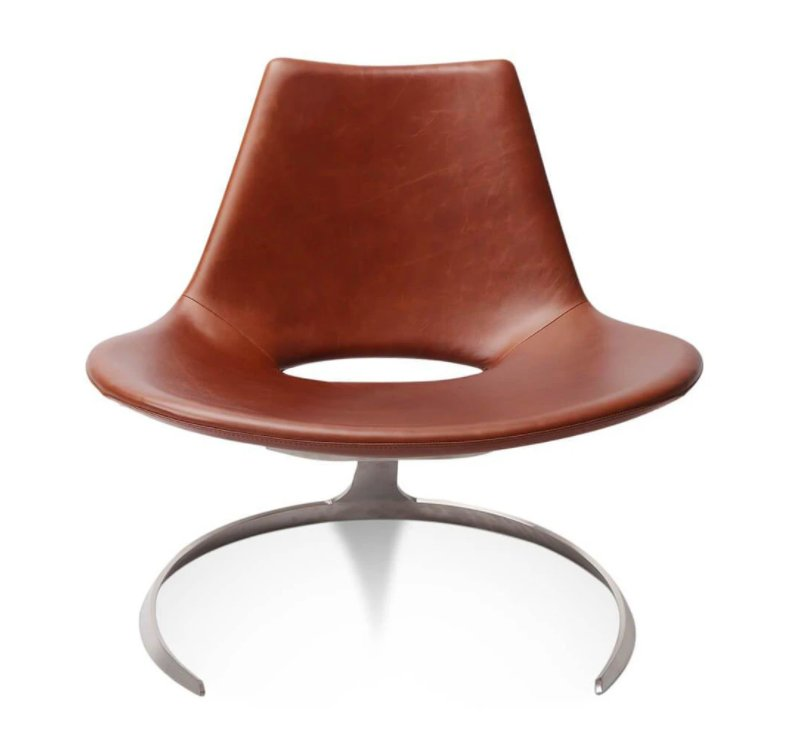 Jrgen Kastholm and Preben Fabricius Scimitar Chair - Aniline Leather-Black